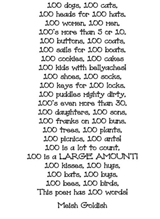 45 Best 100th Day of School Resources - 100 Word Poem - Teach Junkie
