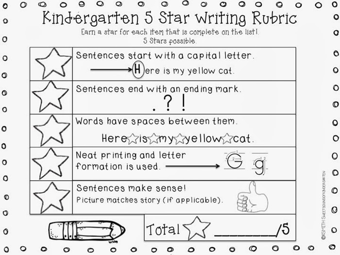 11 Fantastic Writing Rubrics for Kindergarten - 5-star writing rubric - Teach Junkie