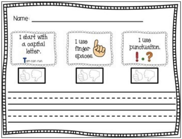11 Fantastic Writing Rubrics for Kindergarten - dictated sentence - Teach Junkie