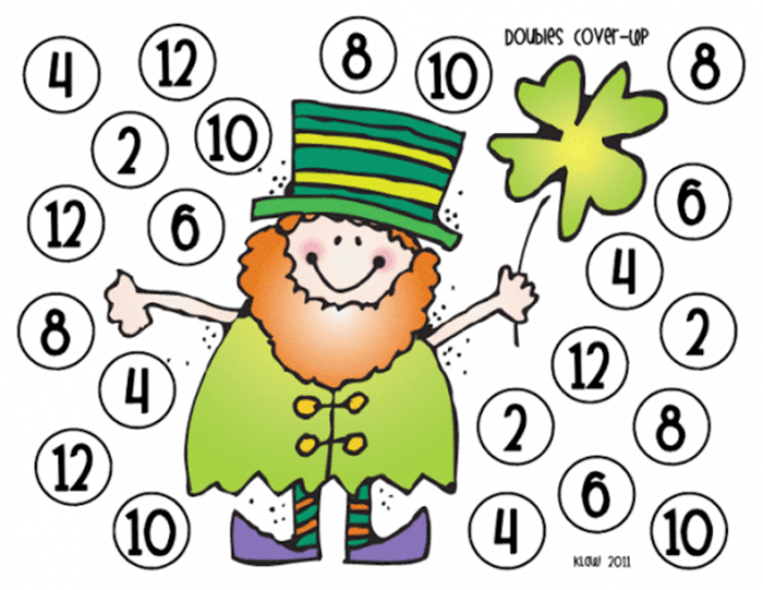 11 Free St. Patrick's Day Primary Printables - Doubles Math Game