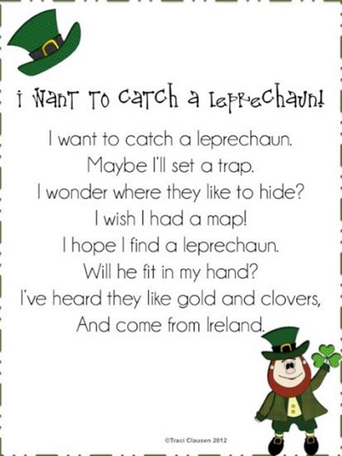 I Want to Catch a Leprechaun Poem for St. Patrick's Day