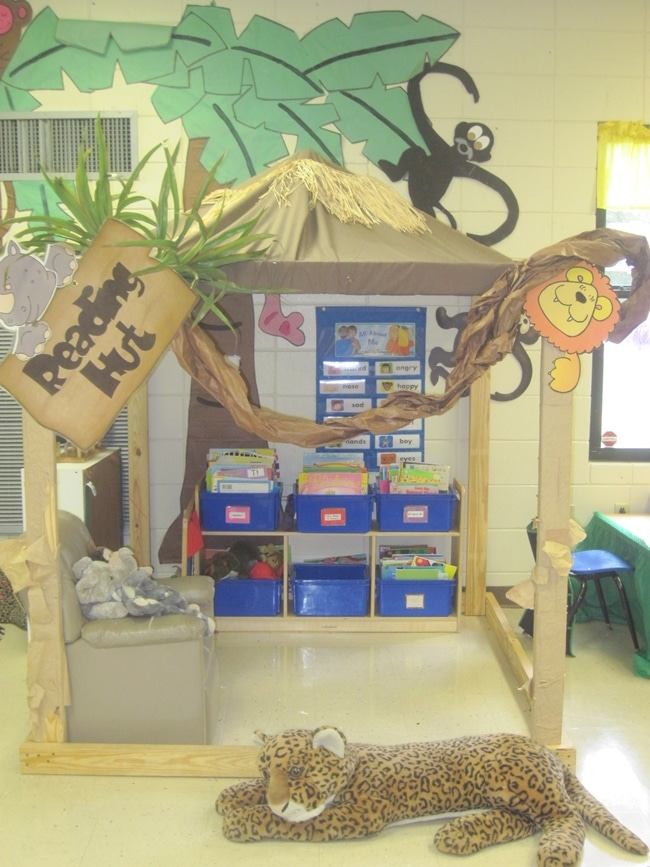 14 Stunning Classroom Decorating Ideas to Make Your Classroom Sparkle Safari Themed Reading Hut - Teach Junkie