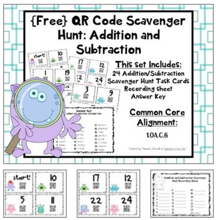 16 Fun QR Code Learning Activities for Free - Addition and Subtraction Scavenger Hunt - Teach Junkie