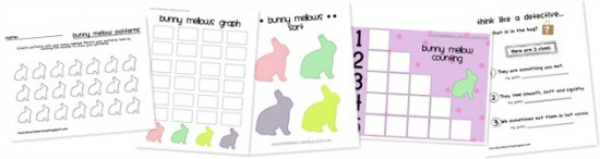 Teach Junkie: 16 Spring and Easter Math Ideas {Free Download} - Bunny Mallow Counting