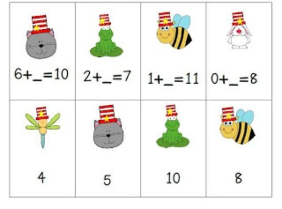 6 Dr. Seuss Inspired Math Activities {Free Download} - A Cat with A Hat and Friends Math Centers