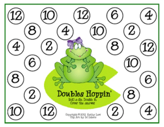 Printable Games {Teacher Created} on Teach Junkie - Doubles Addition Hopping Game