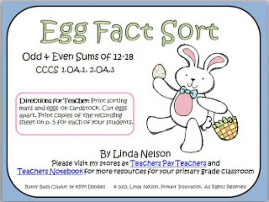 Teach Junkie: 16 Spring and Easter Math Ideas {Free Download} - Egg Fact Sort