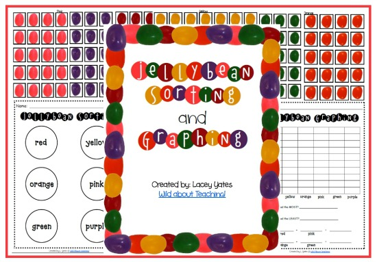 Teach Junkie: 16 Spring and Easter Math Ideas {Free Download} - Jellybean Sorting and Graphing