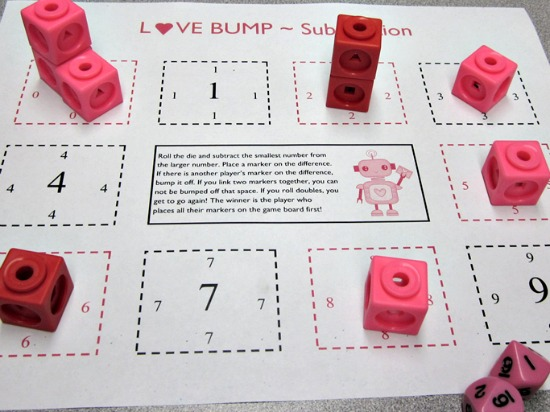 """Teach Junkie: 40 Roll and Cover """"Bump"""" Cool Math Games - Love Bump Subtraction"""