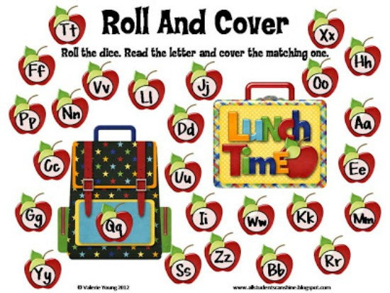"Teach Junkie: 40 Roll and Cover ""Bump"" Cool Math Games - Alphabet"