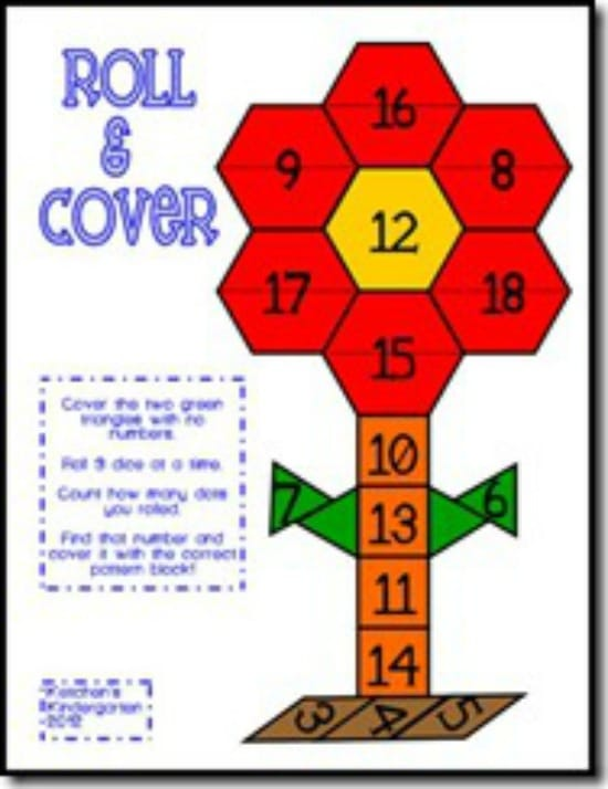 """Teach Junkie: 40 Roll and Cover """"Bump"""" Cool Math Games - Pattern Block Cover Up"""