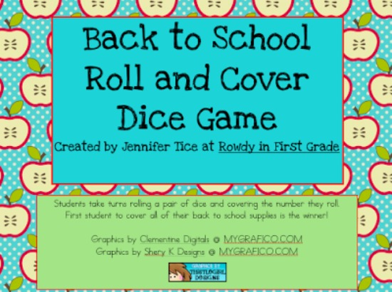 """Teach Junkie: 40 Roll and Cover """"Bump"""" Cool Math Games - Back to School"""