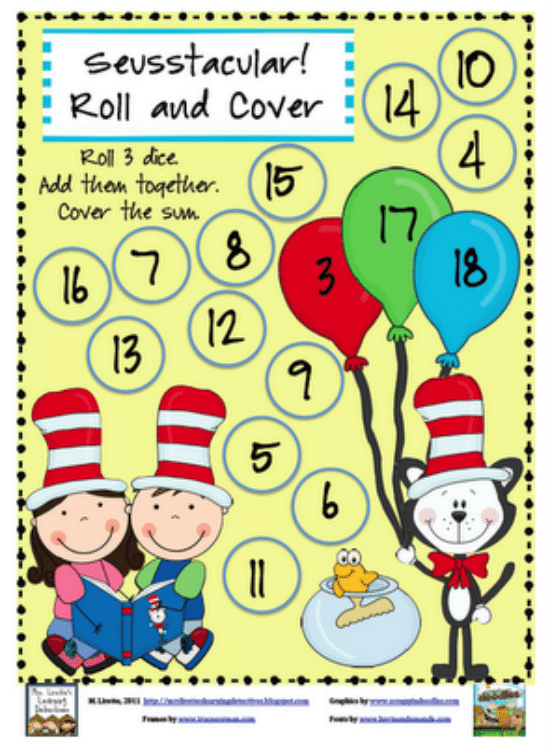 6 Dr. Seuss Inspired Math Activities {Free Download} - Seusstacular Roll and Cover