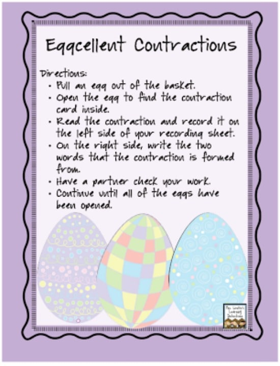 Teach Junkie: 6 Spring ELA Word Work Activities {Free Download} - Eggcellent Contractions