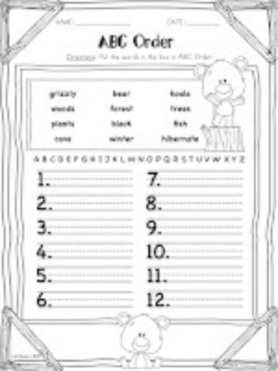 Teach Junkie: 3 Spring Alphabetical Order Downloads for First Grade - Little Bear ABC Order