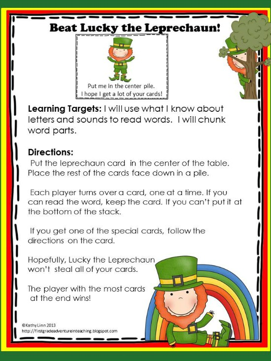 Printable Games {Teacher Created} on Teach Junkie - Beat Lucky the Leprechaun
