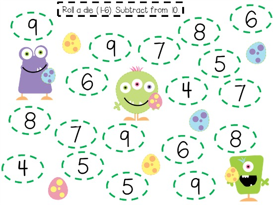 """Teach Junkie: 40 Roll and Cover """"Bump"""" Cool Math Games - Easter Monsters"""
