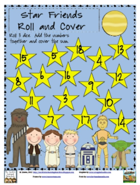 "Teach Junkie: 40 Roll and Cover ""Bump"" Cool Math Games - Star War Friends"