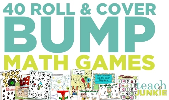 "Printable Games {Teacher Created} on Teach Junkie - 40 Roll and Cover ""Bump"" Cool Math Games"