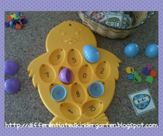 Teach Junkie: 16 Spring and Easter Math Ideas {Free Download} - Subtraction Bump