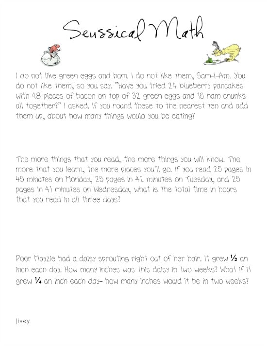 6 Dr. Seuss Inspired Math Activities {Free Download} - Seussical Math Problem Solving