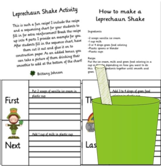 Teach Junkie: 4 St. Patrick's Day Writing Prompts - How To Make Shamrock Shakes