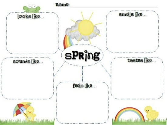 Teach Junkie: 5 Spring Writing Templates {Free Download} - Spring 5 Senses