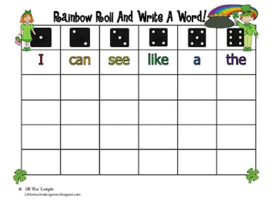 Teach Junkie: 3 Kindergarten St. Patrick's Day Sight Word Games - Rainbow Roll and Write a Word