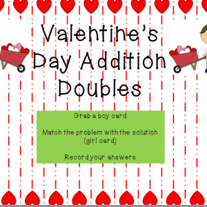 Valentine's Day Addition Doubles Game {printable}