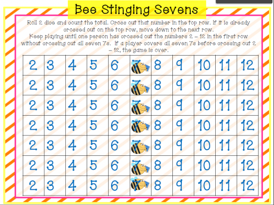 image about Printable Addition Games referred to as Spring Addition Activity: Bee Stinging Sevens - Coach Junkie