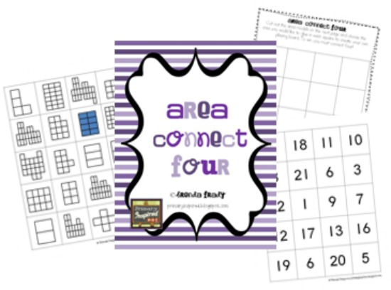 Teach Junkie: 3 Free Math Activities for Area, Perimeter, Volume - Area Connect Four