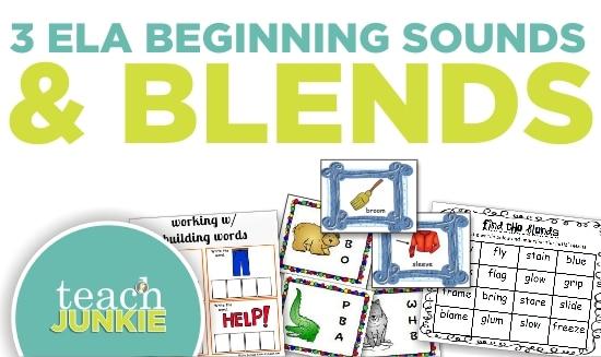Teach Junkie: 3 ELA Beginning Sounds and Blends Worksheets