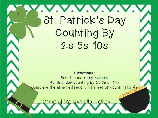 Printable Games {Teacher Created} on Teach Junkie - St. Patrick's Day Counting By 2, 5, 10 {Free Download}