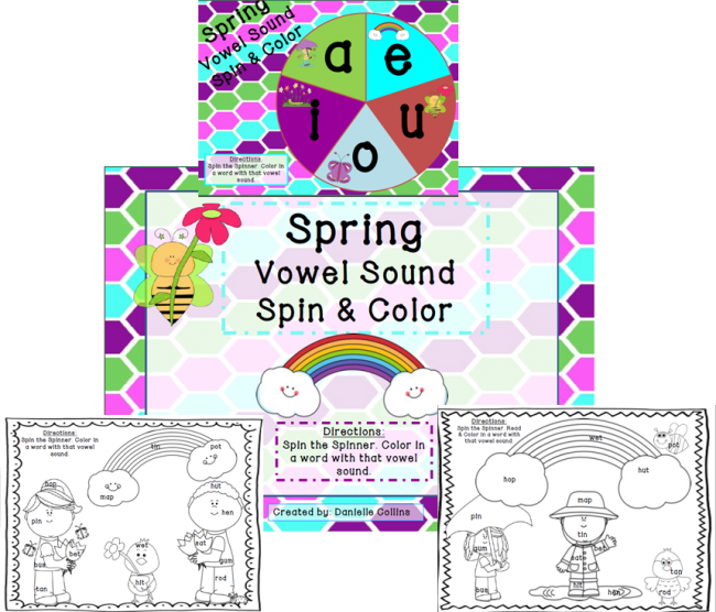Teach Junkie: Top 5 Teaching Ideas - Free CVC Vowel Spin and Color