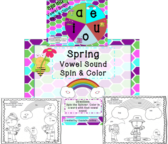 Printable Games {Teacher Created} on Teach Junkie - Spring CVC Spin and Color