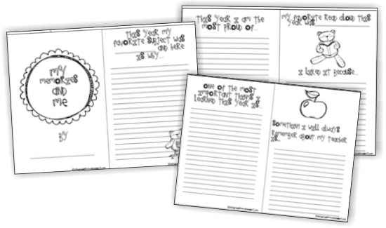 Teach Junkie: 17 Simple End of the school Year Student Gifts and Writing Activities - Free memory book
