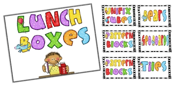 Teach Junkie: 21 Classroom Organization Labels and Tags - Lunch Box Label and Math Materials