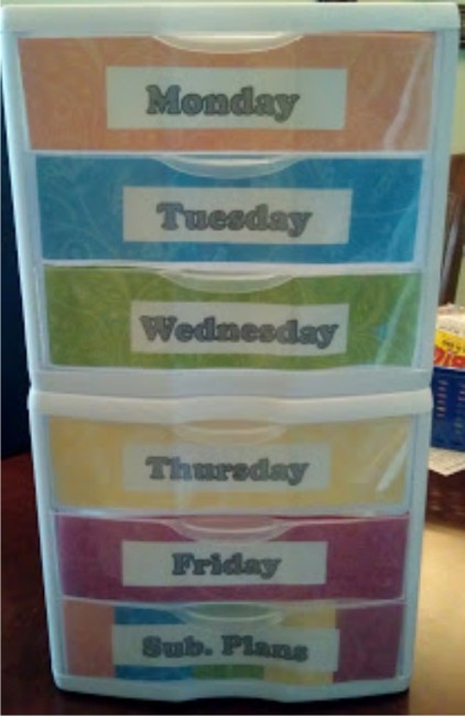 Teach Junkie: 21 Classroom Organization Labels and Tags - Days of the Week Drawers