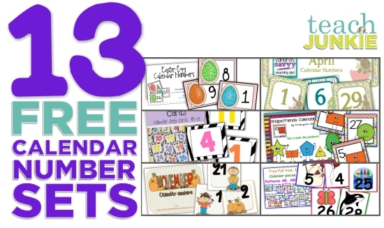 image about Printable Classroom Calendar identify 13 Printable Calendar Quantities Cost-free Down load Sets - Educate