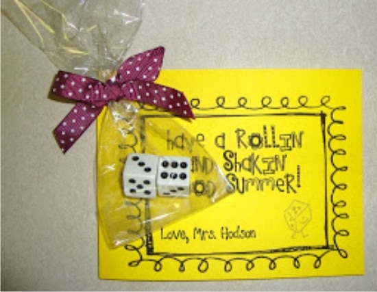 Teach Junkie: 17 Simple End of the school Year Student Gifts and Writing Activities - Rollin' and Shakin' Summer - add to a dollar store dice