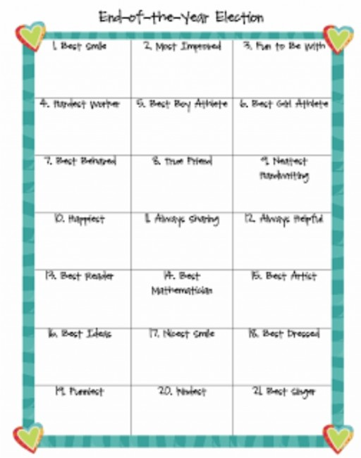 Teach Junkie: 26 Fun and Memorable End of the School Year Celebration Ideas - Class Election
