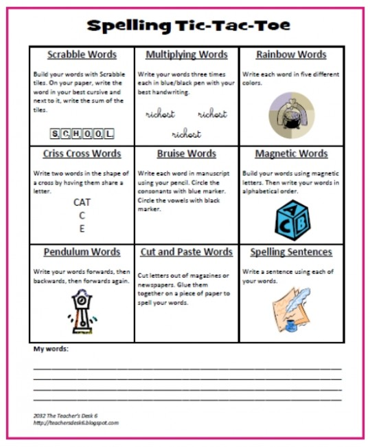 Creative Teaching Ideas – Add Yours: Spelling Tic Tac Toe