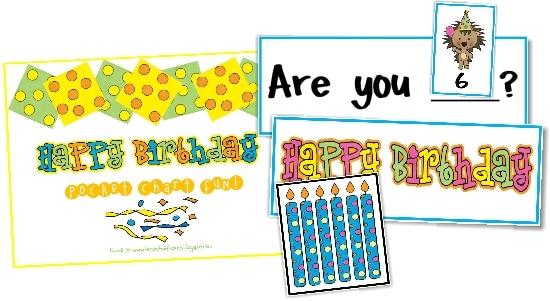 Teach Junkie: 9 Simple Birthday Celebrations and Classroom Birthday Wishes - birthday pocket chart
