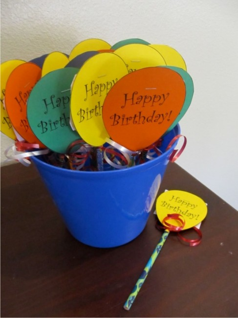 Teach Junkie: 9 Simple Birthday Celebrations and Classroom Birthday Wishes - balloon pencil