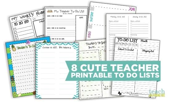 8 Cute Teacher Printable To Do Lists