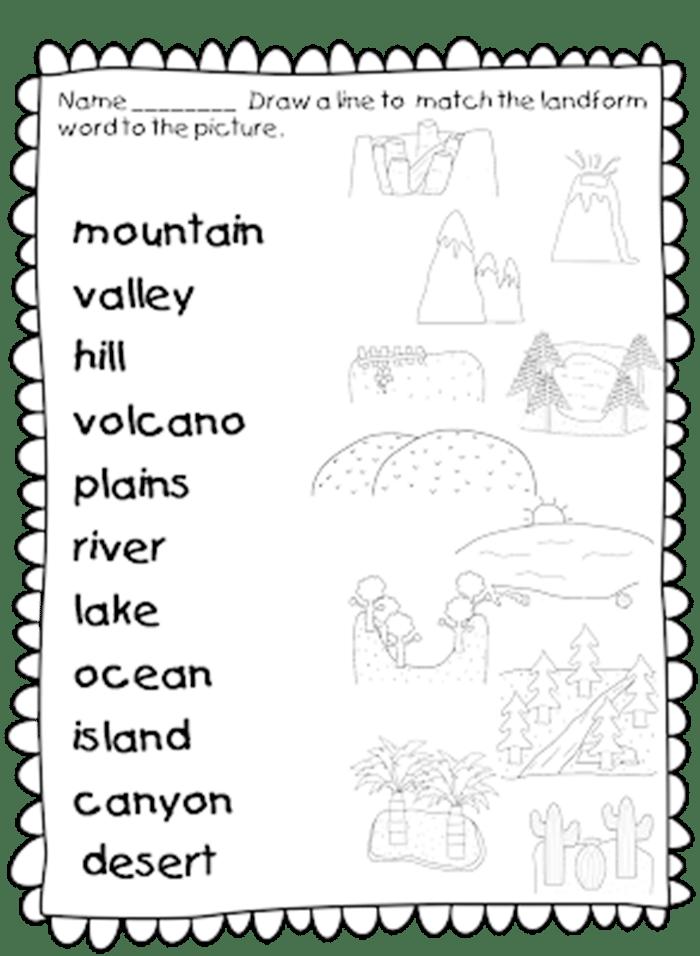 21 Landforms for Kids Activities and Lesson Plans -Landforms Worksheet Set for first grade - Teach Junkie