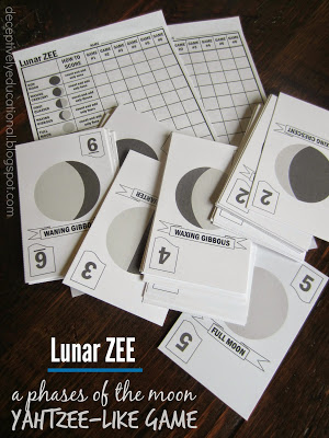 21 Super Activities for Teaching Moon Phases - Lunar Yahtzee - Teach Junkie