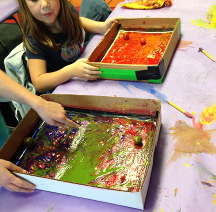 24 Elementary Force and Motion Experiments and Activities -force and motion marble painting activity
