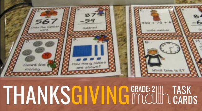 2nd Grade Thanksgiving Math Task Cards Teach Junkie