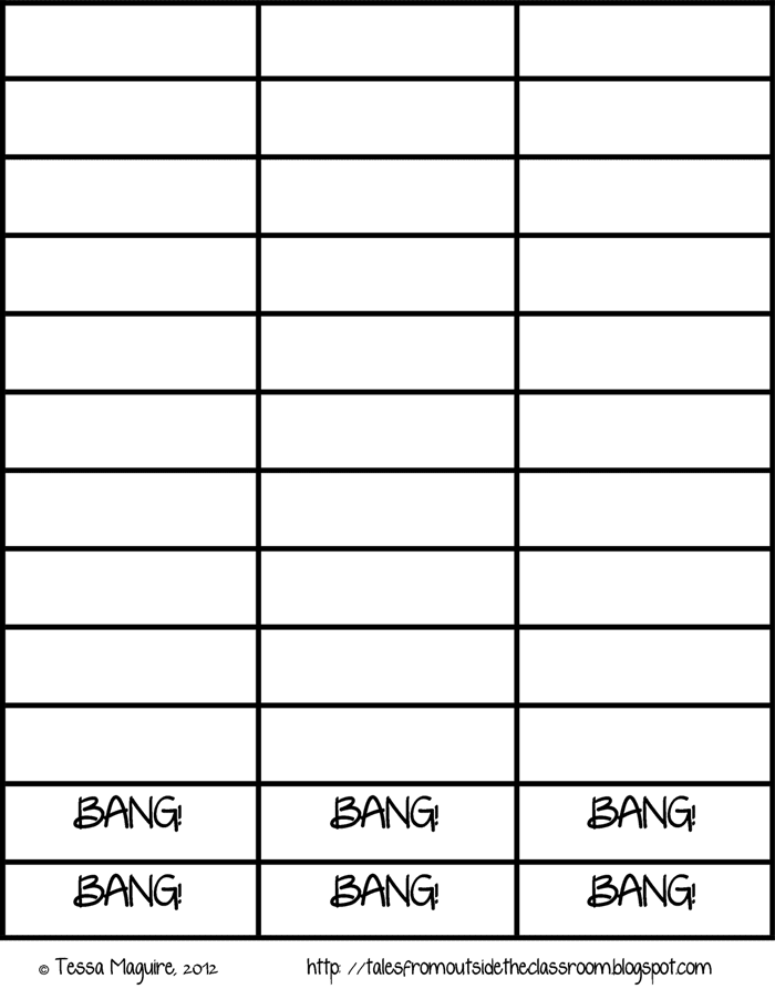 3 Free Game Boards to Make Your Own Center Activities - bang word cards